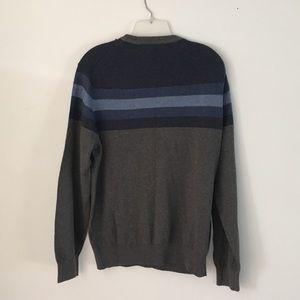 NWT Izod Sweater Gray with Blue Stripes.